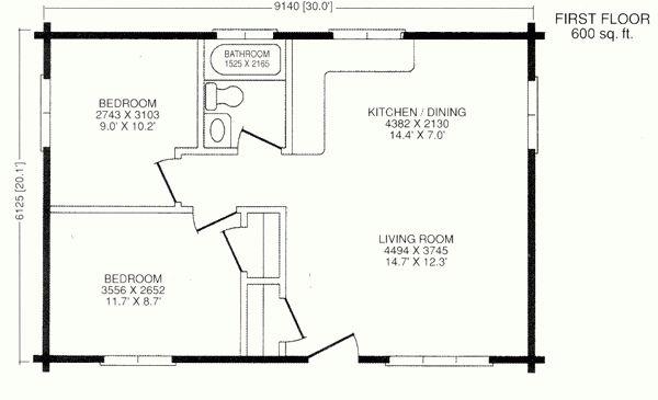 Chalet Model Log Cabin Kits - 20x30 house plans