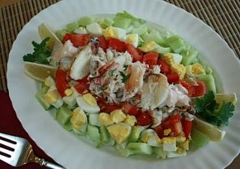 """Crab Louie Salad or Crab Louis Salad - Both spellings of the salad are used on restaurant menus, but it is usually pronounced """"LOO-ey""""."""