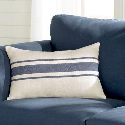 Beachcrest Home Fairfax Striped Design Jute Throw Pillow Color: Navy Blue