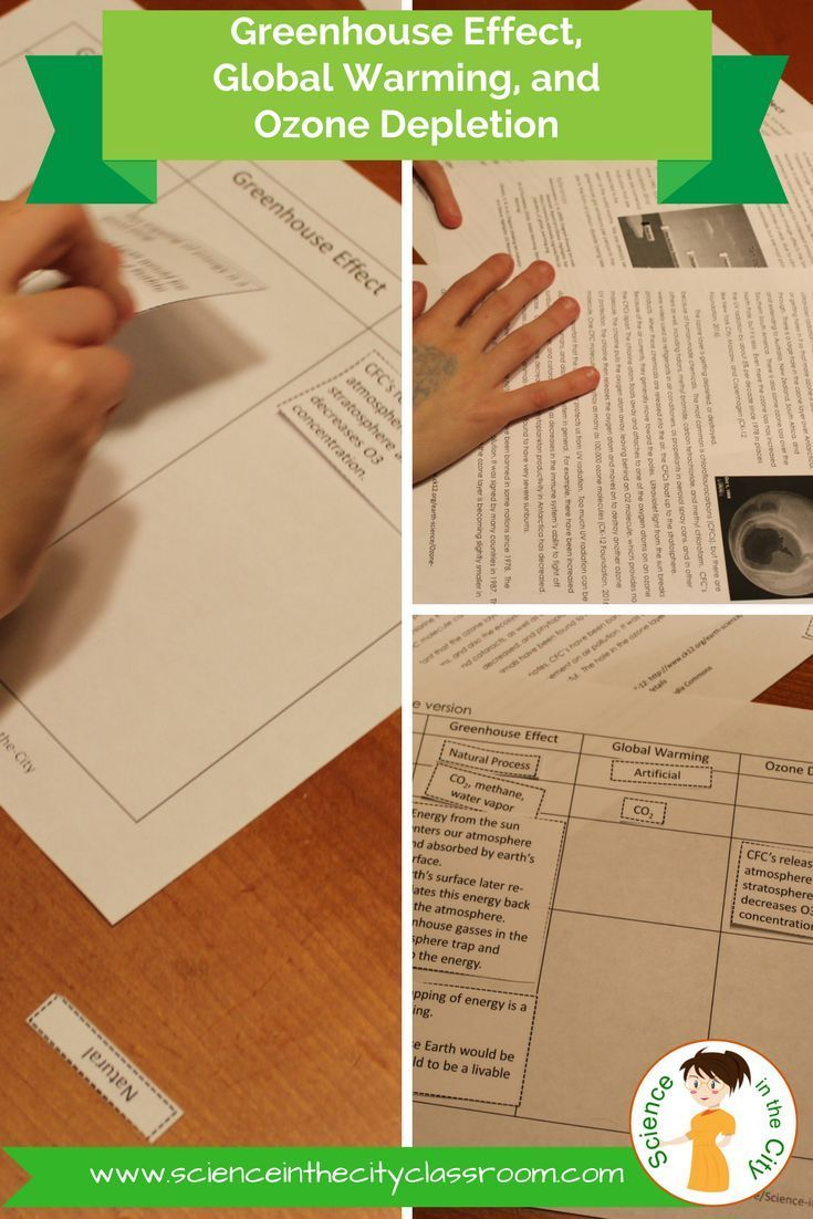 Students often get confused, and have many misconceptions about global warming, greenhouse effect, and ozone depletion. This pack is focused on teaching students the basics of each, and giving them a chance to compare and contrast. Included are: - three one-page readings (one on each topic) - a chart that students complete about the causes and effects of each process - a card sort activity. - Modified version of the chart that can be done as a cut and paste activity