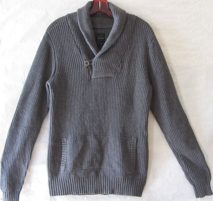 Mens All Saints Sweater Grey Military Pockets Shawl Collar