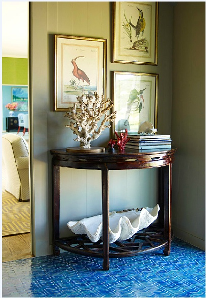 Oceanic Entryway From Katie Riddler. Love The Artwork Set, Bright Tile On  The Floor