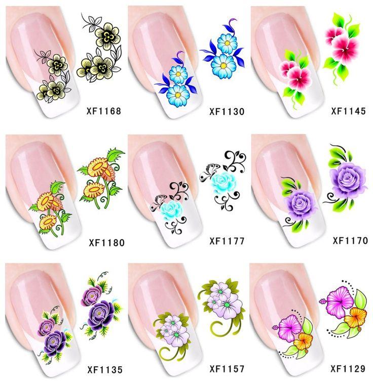60 лист(ов) XF1121-XF1180 ногтей цветочная вода пересилки наклейка ногти обертывания фольга польские надписи временные татуировки водяной знак