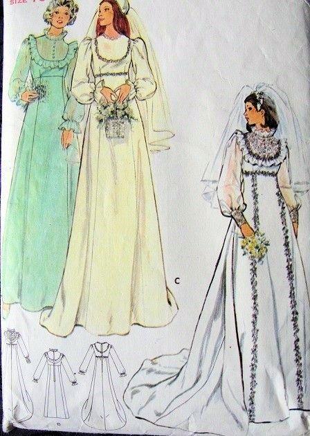 1970s EMPIRE WAIST BRIDAL GOWN WEDDING DRESS PATTERN