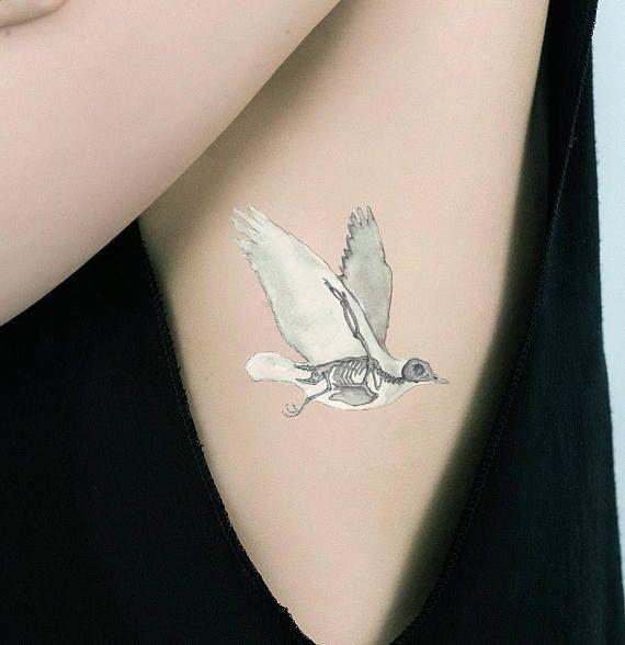 #Accessories #Bird #Skeleton #Temporary #Tattoo #Anatomy #Art #Flying #Pigeon #Dove #Owl #Eagle #Swallow #Shoulder #Wrist #Neck #Hipster #Goth Strange Creepy Halloween Unusual Vet Gift Hunter Woodland Farm Biology Zoology Fake Removable Body Science Tribal