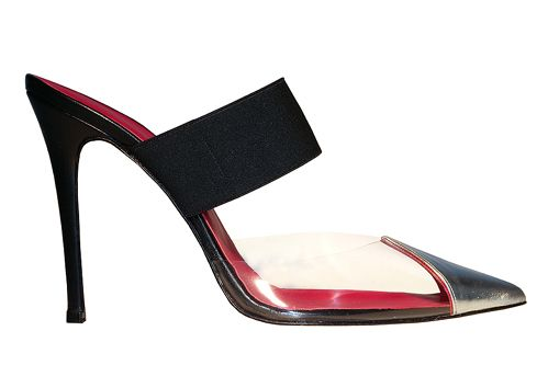 Mirror leather and pvc mule www.stathissamantas.com