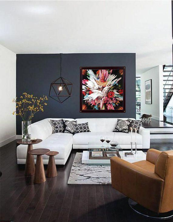 Glitch II contemporary art abstract CANVAS PRINT of Bouquet of Flowers art painting Christmas Gift Wall art living room bedroom design
