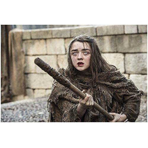 Game of Thrones Maisie Williams as Arya Stark Blind and Holding Stick 8 x 10 inch photo