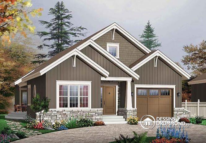 W3227 plan maison de plain pied craftsman 3 chambres cuisine et s jour av - Plan maison avec patio ...