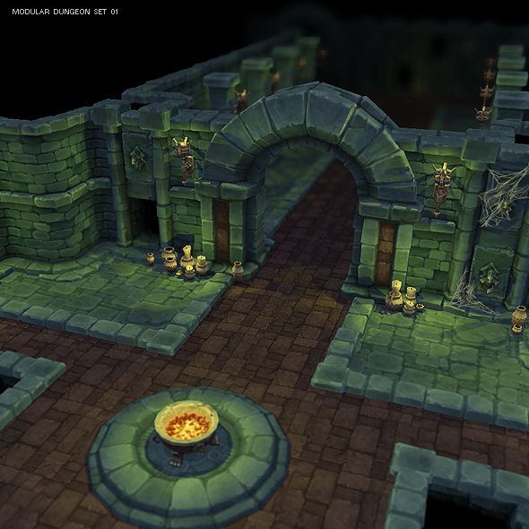 Dungeon Starter Set - Low Poly 3D Model