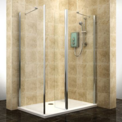 Cooke lewis deluvio rectangular shower enclosure tray for Walk in shower tray