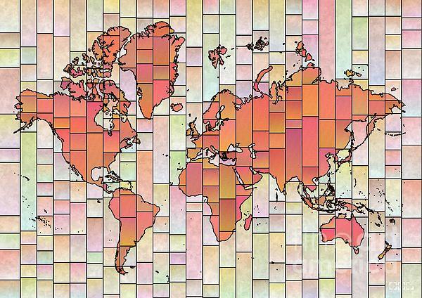 World Map Glasa Orange Pink by elevencorners. World map art wall decor print. #elevencorners #mapglasa