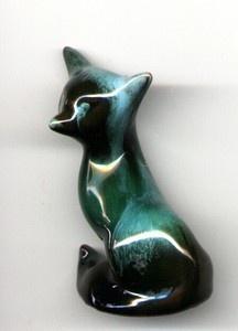 "Blue Mountain Art Pottery Fox 9cm 2.5"""