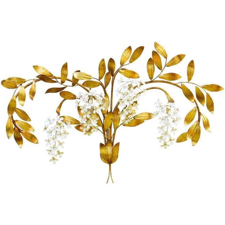 Midcentury Wall Light Large Sconce Maison Bagues Floral Tole 1