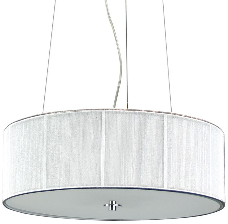 Features 4 Light String Pendant Contemporary silver string drum shaped pendant with a frosted glass diffuser. The lunette has a clear flex cord, 3 stainless steel support wires and a chrome canopy. Compact fluorescent bulbs are ideal for this pendant. P