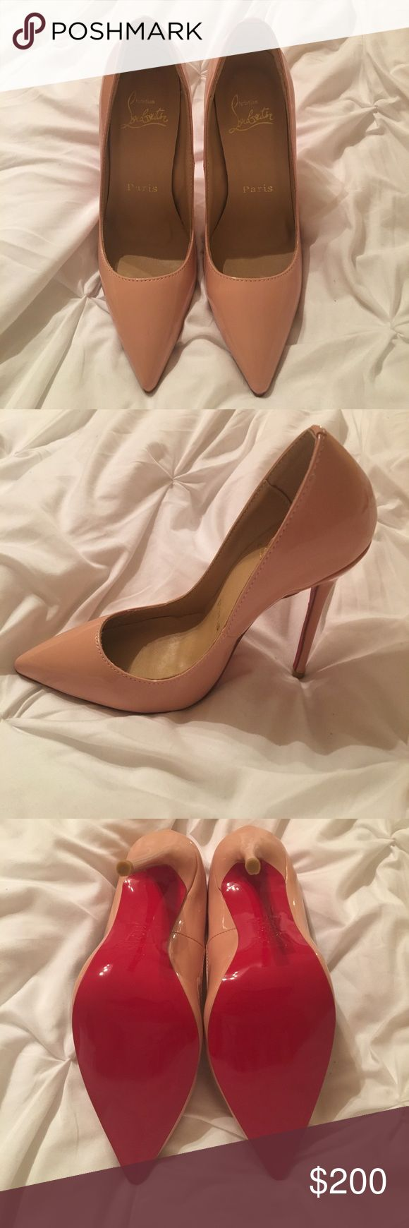 Brand new heels with red bottoms Nude heels with red bottoms (i'm actually a size 6-6.5 but these fit perfectly) Shoes Heels
