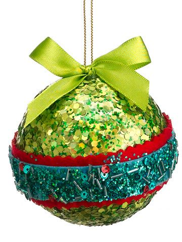 "3.5"" Christmas Brites Green Red and Blue Sequin and Bead Ball Ornament with Bow"