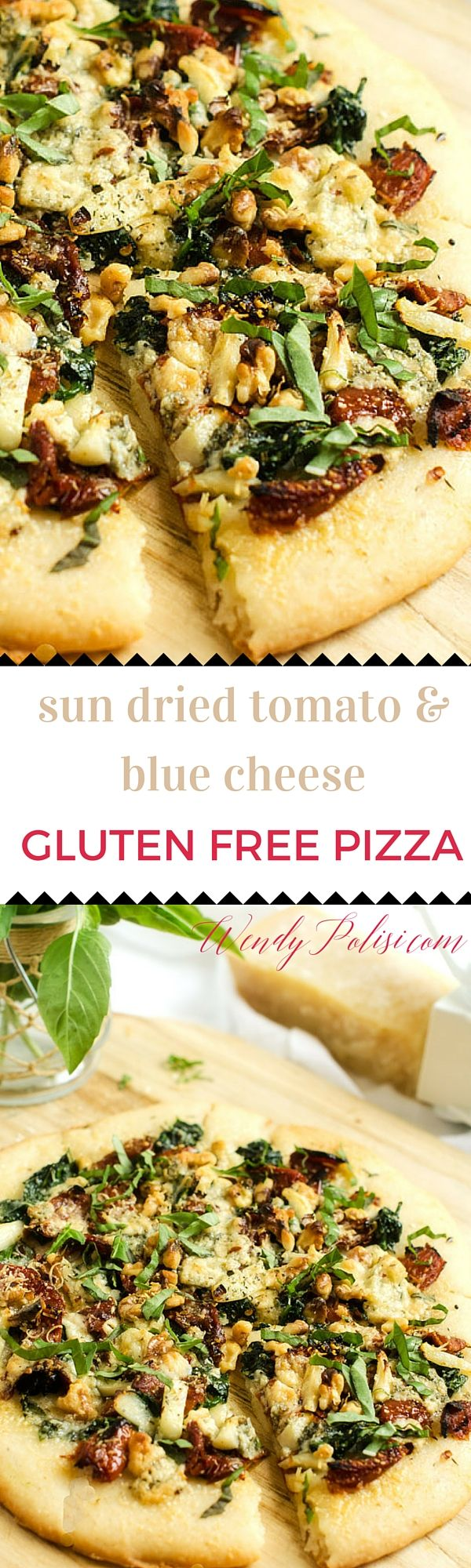 Blue Cheese, Spinach, and Sun-Dried Tomato Pizza - This gluten free pizza is anything but ordinary! With baby spinach, sun-dried tomatoes, garlic, blue cheese, walnuts and Parmesan cheese topped off with fresh basil, this is one you will make again and again.