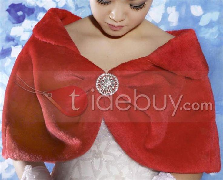 ラインストーンのブローチ(その他の色)を使用素晴らしいのどの毛皮の結婚式のジャケット/ラップ/ショール