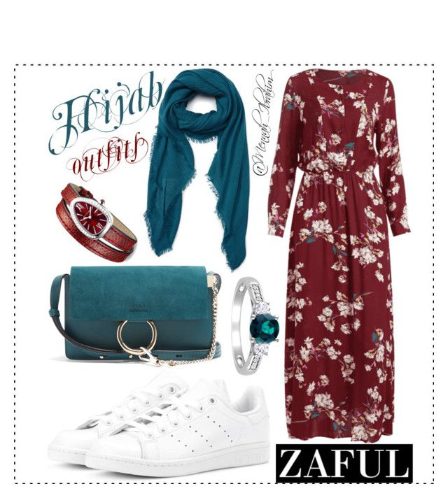 """#Hijab_outfits #modesty #Zaful #Red_Teel"" by mennah-ibrahim on Polyvore featuring David & Young, adidas Originals, Chloé and Bulgari"