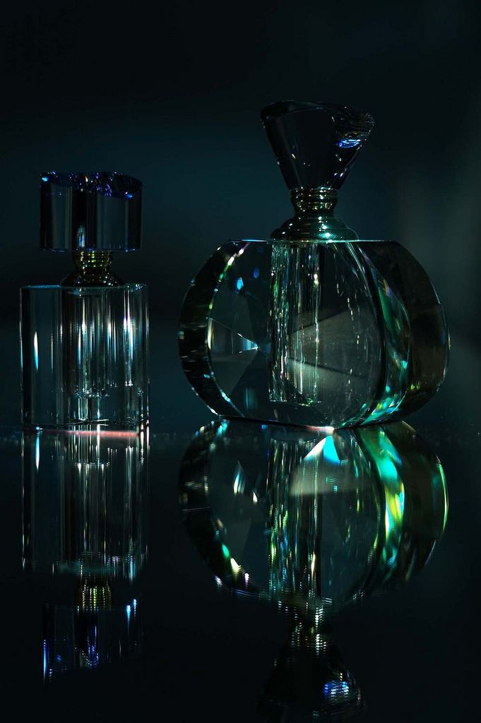 Still life of #art-deco perfume bottles by Lucy Munday. #studio #photography. See more at www.lucymunday.com