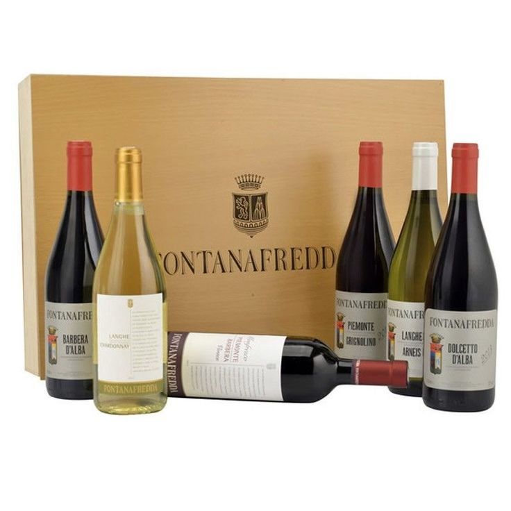 Cassetta Vini Pregiati del Piemonte Fontanafredda  Vini Piemontesi Regalo Natale