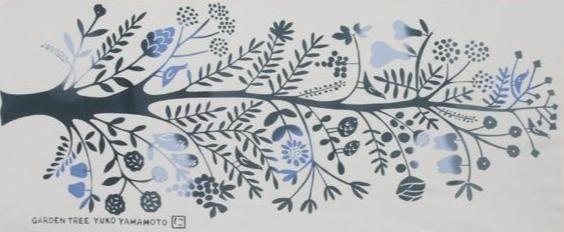 にじゆら 手ぬぐい  あいまいな色 シリーズ GARDEN TREE ブルー(作家:山本祐布子)
