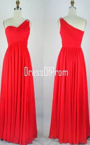 2d644019e11 Red Empire One Shoulder Chiffon Floor Length Crystal Brooch Long Prom Dress