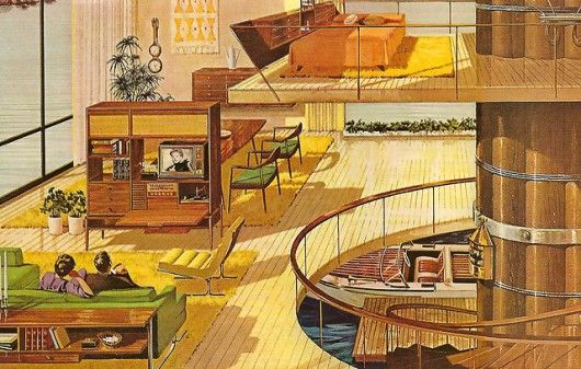 Another design of a Mid-Century home built over water! I love the loft design and the in-house boat storage!