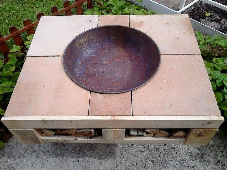 DIY Pallet Fire-Pit Table with Firewood Storage   99 Pallets