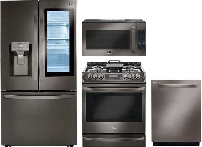 Lg 4 Piece Kitchen Appliances Package With French Door Refrigerator Gas Range 1000 In 2020 Kitchen Appliances Kitchen Appliance Packages Range Microwave
