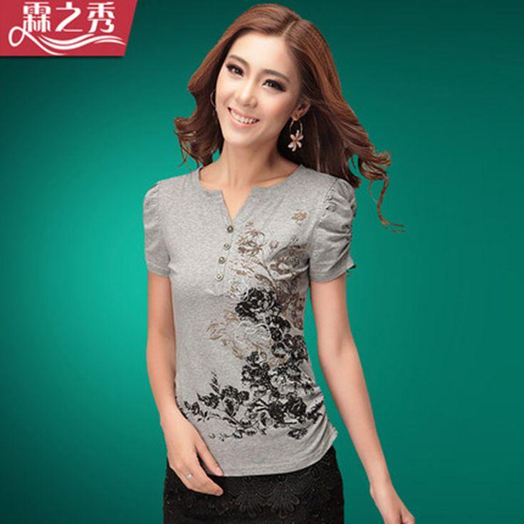 Summer Ink Print Women T-shirt National Female Trend V-neck Flower Short-sleeve Casual T-shirt Comfortable Cotton T-shirt