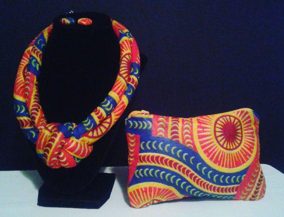 Rood & geel geknoopte ketting-Afrikaanse stof door ImaniEssentials