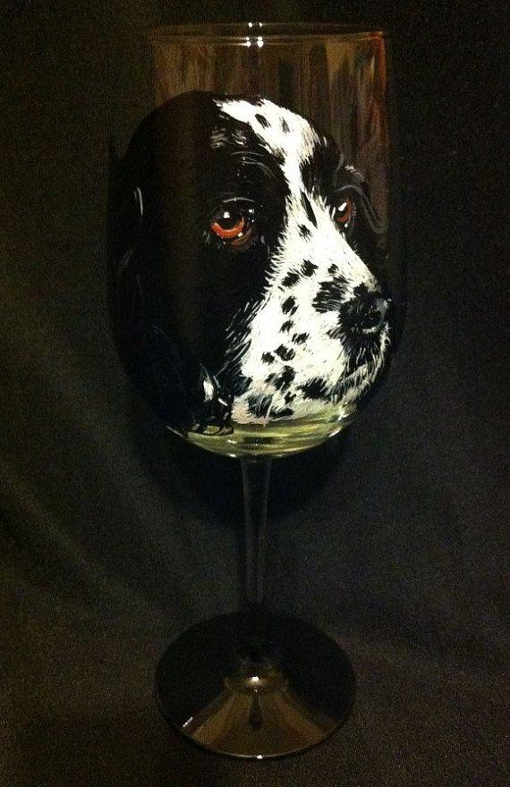 Spaniel Pet Portrait Wine Glass