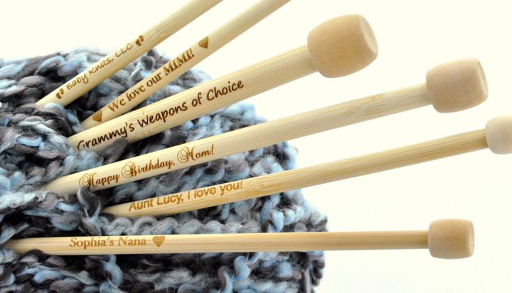 "Personalized Engraved Pair of Bamboo Knitting Needles, you choose wording and font . Size US Size 10, 6.0mm, (UK Size 4)  13"" long knt0009 by BLINGYourNameHere on Etsy https://www.etsy.com/listing/182461119/personalized-engraved-pair-of-bamboo"