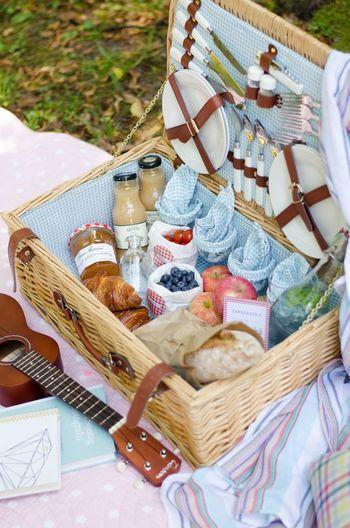ピクニック用のバスケットはお皿やグラスを収納できるので便利!