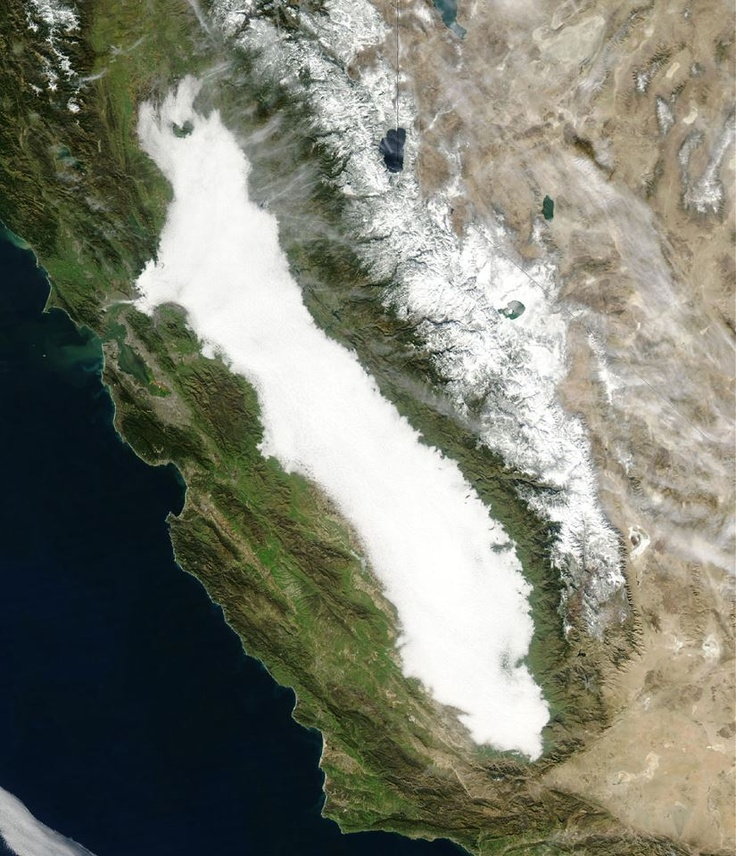 Dense Tule Fog in California's Sacramento and San Joaquin Valley