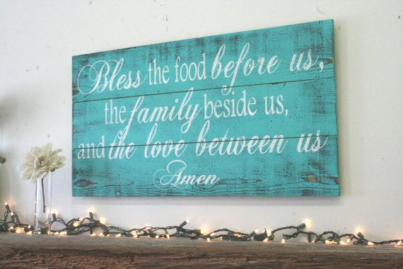 Bless The Food Pallet Sign Kitchen Sign Dining by RusticlyInspired