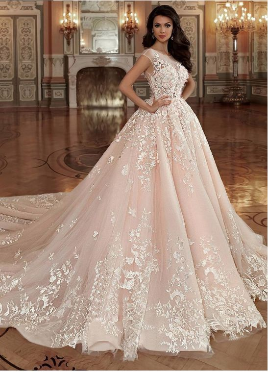 Stunning Tulle & Organza Bateau Neckline Ball Gown Wedding Dress With Lace Appli… – Princess wedding dresses