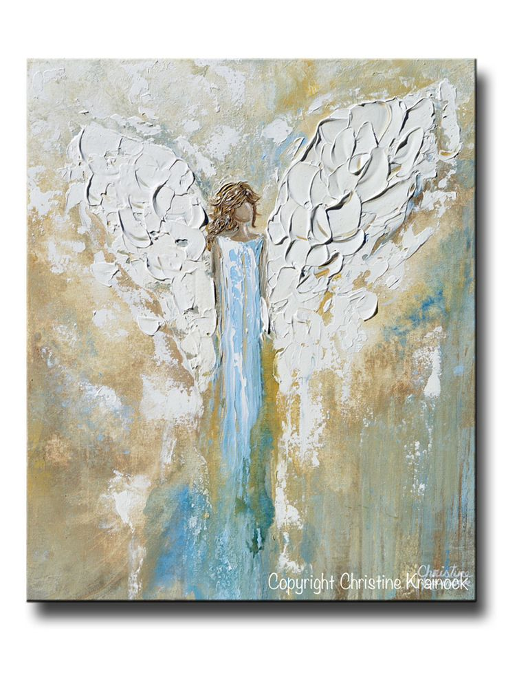 GICLEE PRINT Angel Painting Abstract Guardian Angel Wings Blue Gold White Modern Home Wall Art - Christine Krainock Art - Contemporary Art by Christine - 1