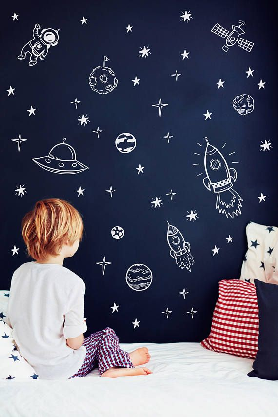 Space wall decals Outer space nursery decor Rocket ship