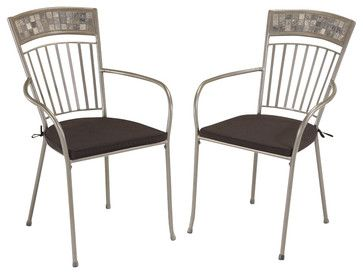Home Styles Glen Rock Outdoor Dining Chair in Gray (Set of 2) - transitional - Outdoor Dining Chairs - Cymax