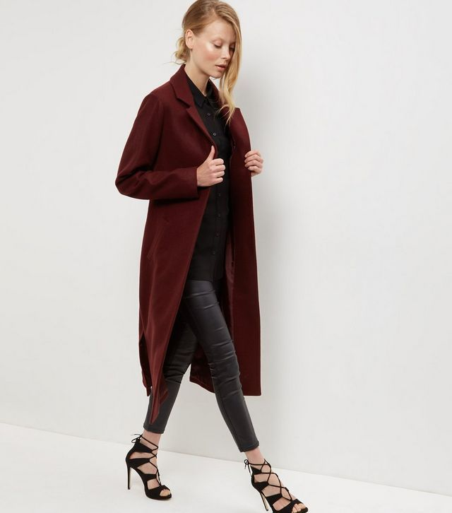 Burgundy Bar Back Split Side Maxi Coat | New Look
