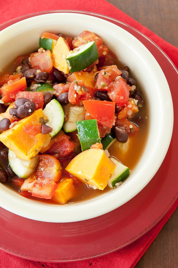 #Epicure Steamer 10-minute Ratatouille Black Bean Vegetable Chili #portioncontrol