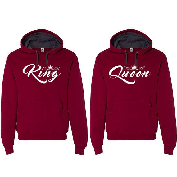 King Queen Hooded Sweatshirts Couple Matching by clothingforanyone                                                                                                                                                                                 More