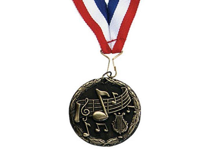 "CLEF/STAFF MEDALLION - 2"" medallion with 30"" ribbon."