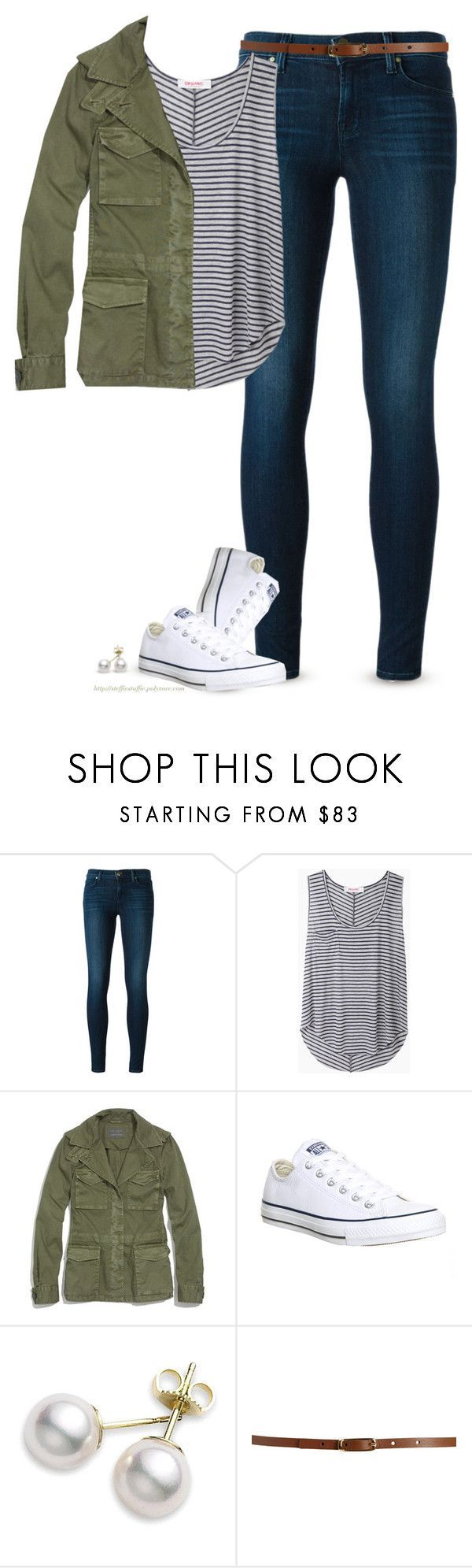 Army Green jacket, Striped top  Chucks by steffiestaffie ❤ liked on Polyvore featuring J Brand, Organic by John Patrick, Madewell, Converse, Mikimoto and Maison Boinet