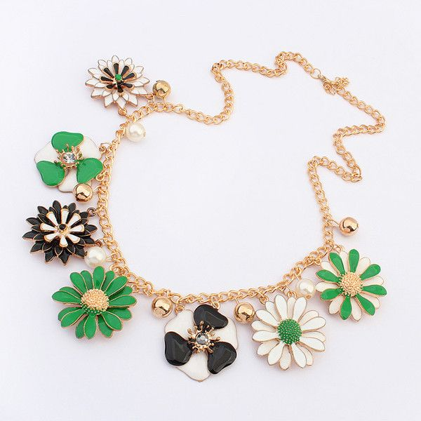 Fashion Statement Necklace, Zinc Alloy, Flower, real gold plated,... (25 HKD) via Polyvore featuring jewelry and necklaces