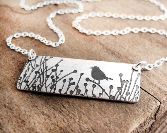 Little Bird in the Tall Grass Necklace by lulubugjewelry on Etsy: Etsy, Little Birds, Birds Necklaces, Grass Necklaces, A Tattoo, Grass Tattoo, Metals Jewelry Birds, Tall Grass, Handmade Necklaces