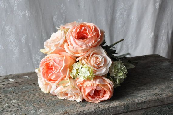 Coral rose and green hydrangea wedding by Hollysflowershoppe, $70.00